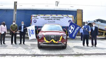 Hyundai dispatches first batch of cars to Nepal through railways