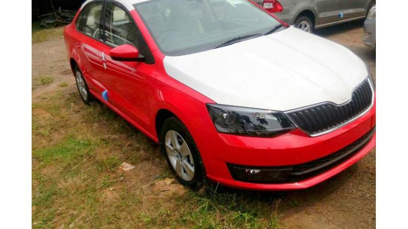 Facelifted Skoda Rapid spotted at dealer yard ahead of its launch
