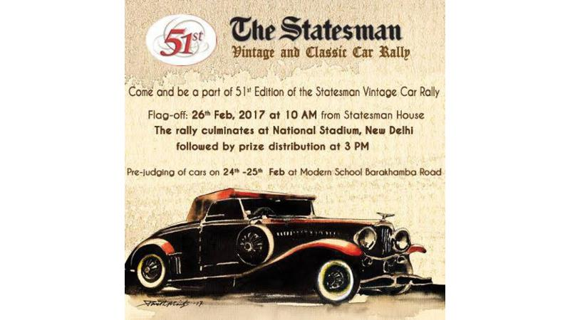 The Statesman Vintage Car Rally to be held in Delhi on Feb 26