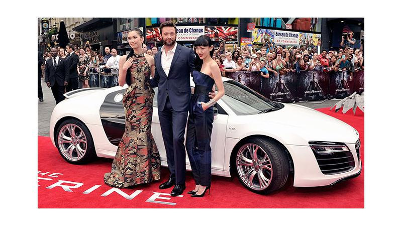 Hugh Jackman arrives at Wolverine London Premiere in an Audi R8 Spyder