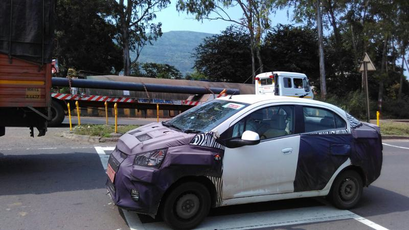 Chevrolet Essentia compact sedan spied testing in Pune