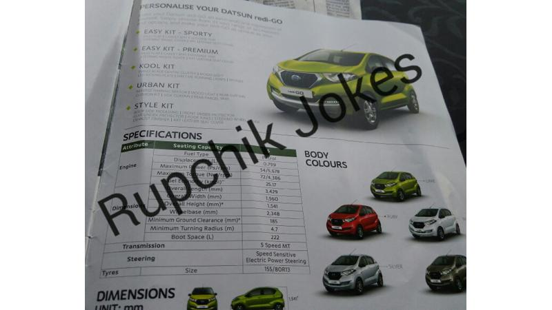 Datsun Redigo brochure reveals features and variants before launch