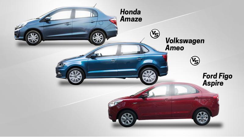 Spec comparo: Volkswagen Ameo Vs Honda Amaze Vs Ford Figo Aspire