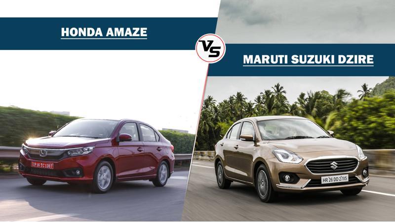 Honda Amaze CVT Vs Maruti Suzuki Dzire AMT - Specifications compared