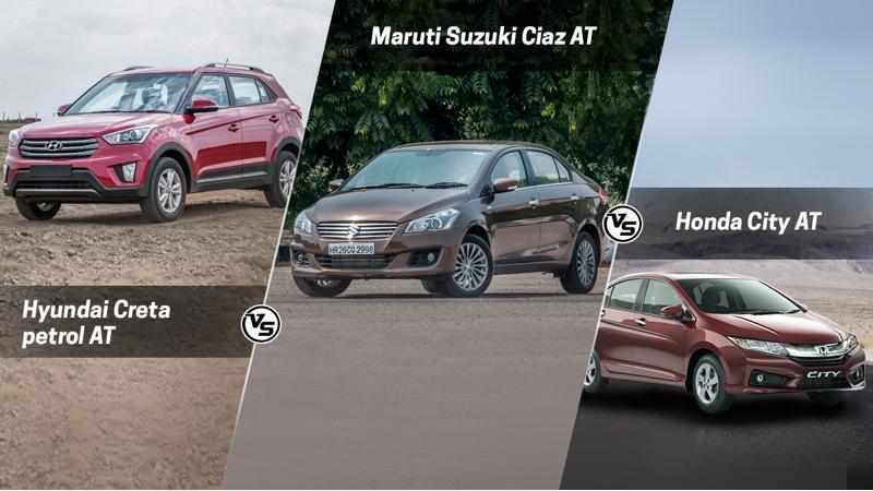 Hyundai Creta petrol AT Vs Maruti Suzuki Ciaz AT Vs Honda City AT spec comparison