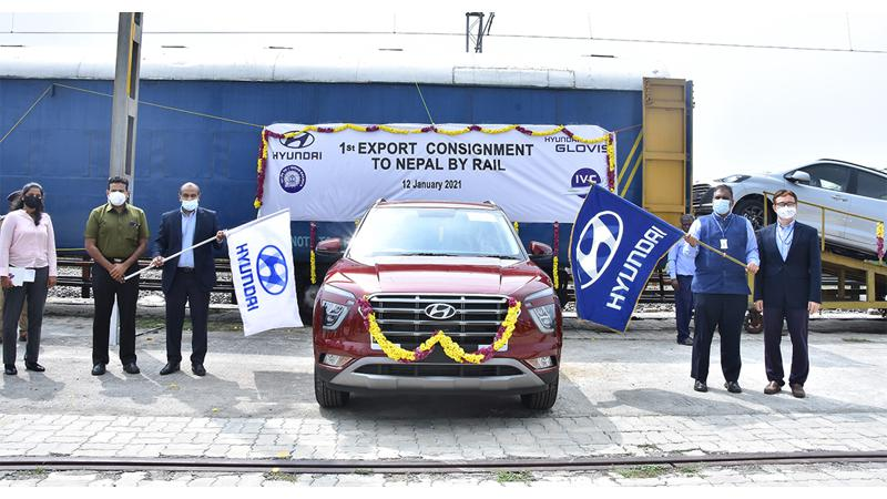 Hyundai dispatches first batch of cars to Nepal through railways