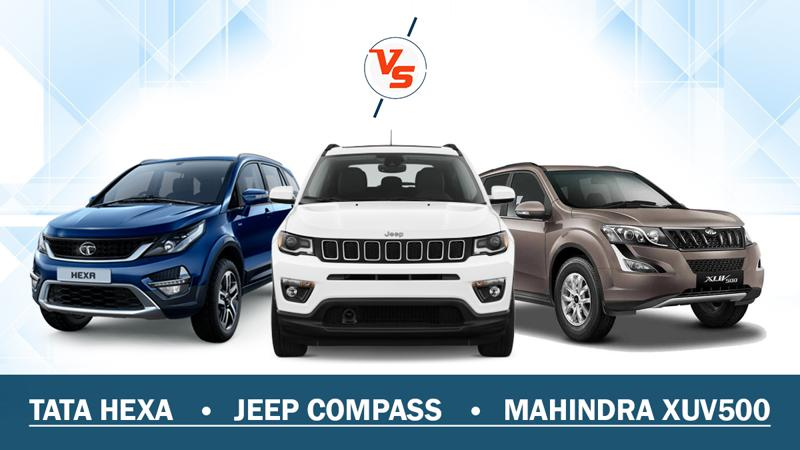 Spec Comparo: Jeep Compass vs Mahindra XUV500 vs Tata Hexa