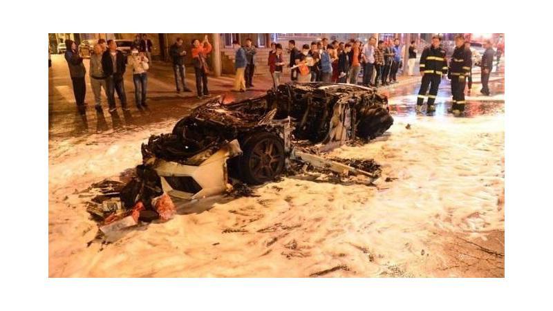 Lamborghini Gallardo burns itself literally to ashes in Chinese city