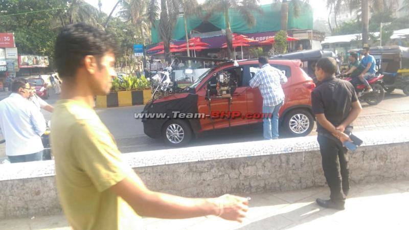 Mahindra XUV100 (S101) spied during commercial shoot