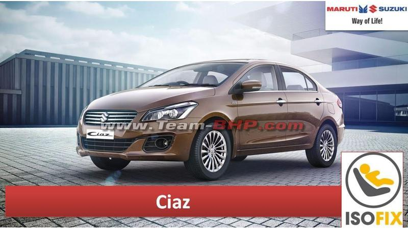 Maruti Suzuki to equip Ciaz with ISOFIX mounts soon