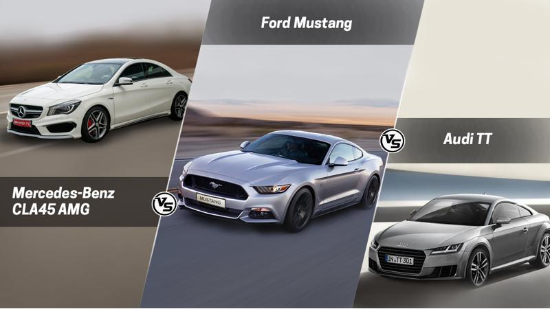 Spec Comparo: Ford Mustang Vs Mercedes-Benz CLA45AMG Vs Audi TT