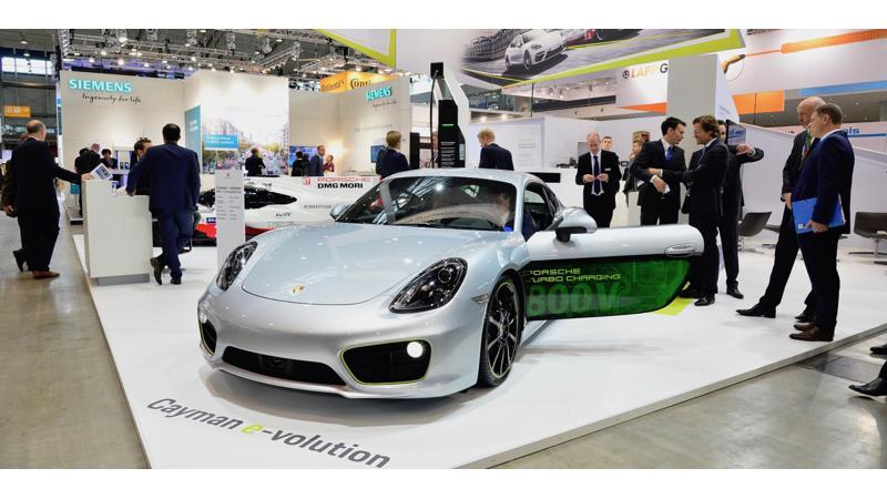 Porsche electrifies the Cayman for International Electric Vehicle Symposium