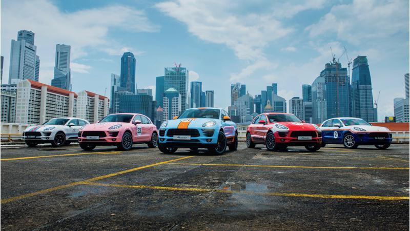 Five Porsche Macans dons racing liveries
