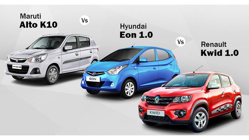 Renault Kwid 1.0 vs Maruti Suzuki Alto K10 vs Hyundai Eon 1.0: Spec Comparo