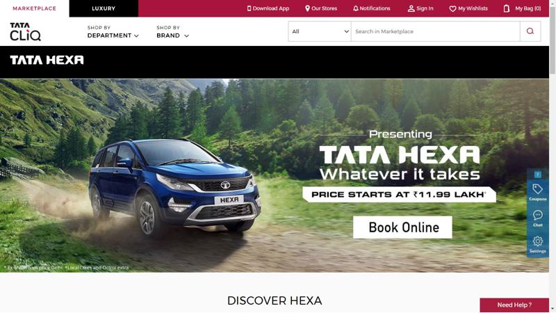 Tata Hexa can now be booked through TataCLiQ e-commerce website