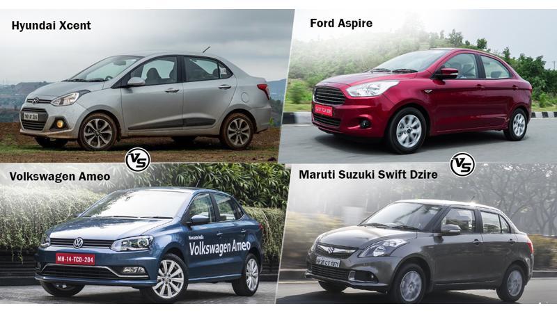 Spec comparo: VW Ameo Vs Hyundai Xcent Vs Maruti Suzuki Swift Dzire Vs Ford Aspire