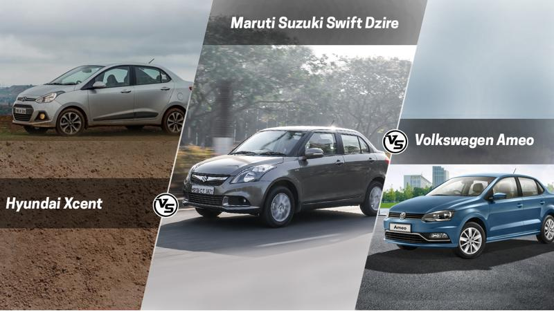 Volkswagen Ameo vs Maruti Dzire vs Hyundai Xcent: Spec Comparison