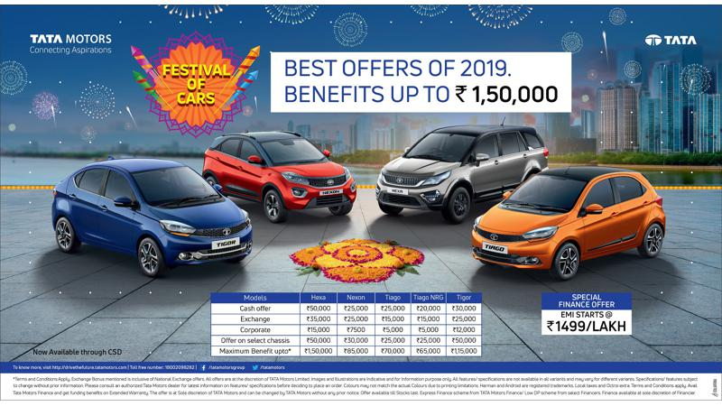 Tata Motors announces benefits up to Rs 1.5 lakhs under Festival of Cars Campaign