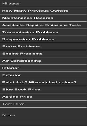 Used car checklist app in India