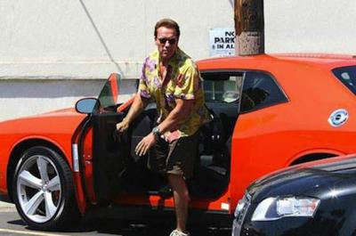 Arnold schwarzenegger stepping out from his car