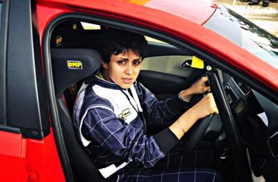 Gul Panag an AAP candidate in her car