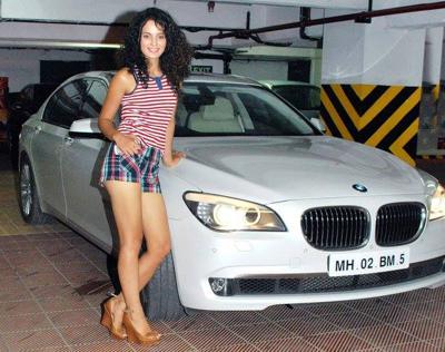 Kangana ranaut with her classy bmw 7 series