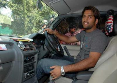Mahendra singh dhoni in his car