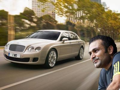 Sehwag with bentley flying spur