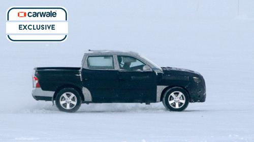 Ssangyong testing the new Actyon Sports facelift in snow