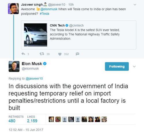 Elon Musk Twitter reply