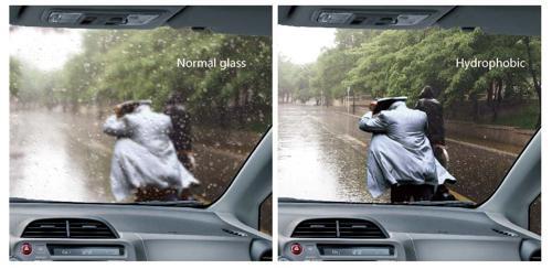 Hydrophobic car glass