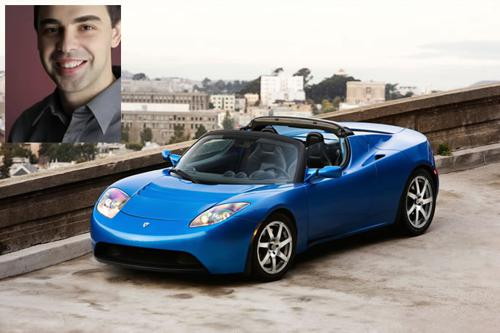 Larry page and tesla roadster