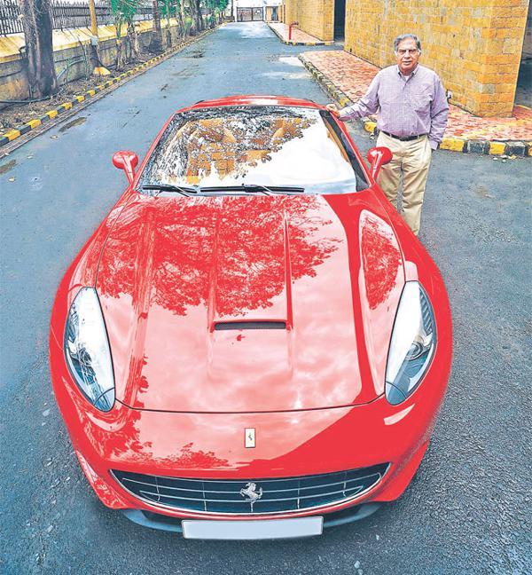 Ratan Tata Posing With His Classy Car