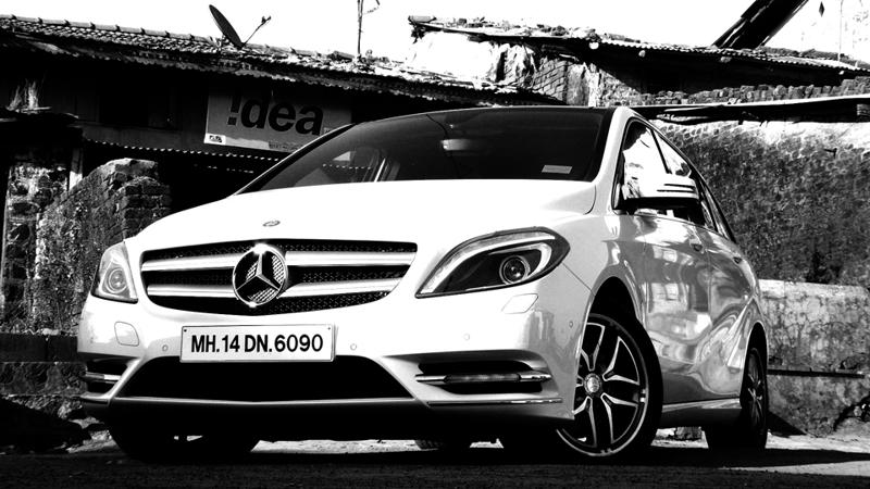 Mercedes Benz B Class Black and White Image